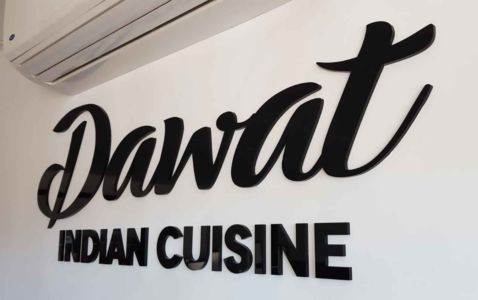 dawat indian cuisine laser cut bye ezi sign and printers