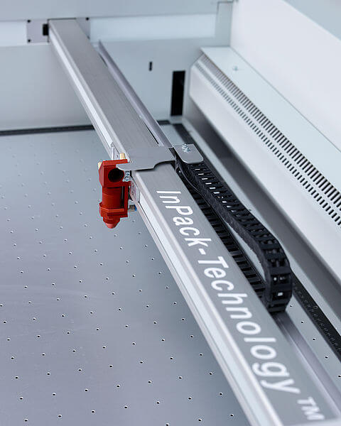 Working head with active laser deflector shield at Trotec SP3000 Laser Cutting Machine