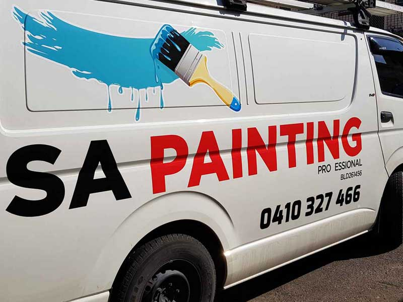 SA Painting had its vehicle wrapped to promote their business